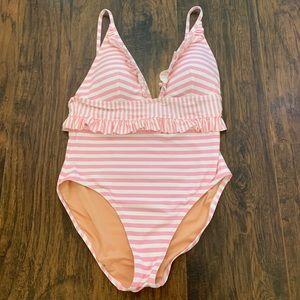 J. Crew Ladies Swim Bathing Suit Pink & White 10